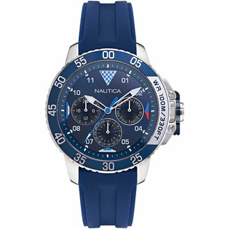 Nautica Men's Bay Ho Stainless Steel Japanese Quartz Silicone Strap