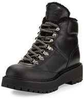 Prada Shearling-Trim Leather Hiking Boot, Black (Nero)