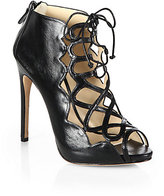 Alexandre Birman Leather Cage Lace-Up Sandals