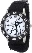 Disney Kids' W000452 Jack Skellington Stainless Steel Time Teacher Black Bezel Black Velcro Strap Watch