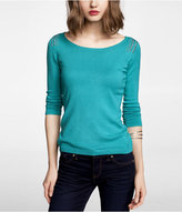 Express Studded Bateau Neck Ruched Sleeve Sweater
