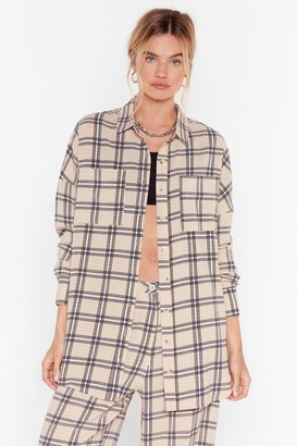 Nasty Gal Womens Square You At Check Longline Shirt - Beige