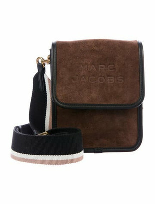 Marc Jacobs Leather-Trimmed Suede Crossbody Bag Brown