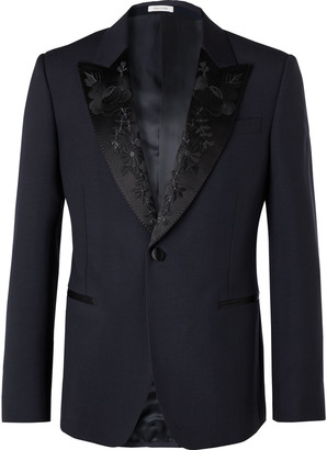 Alexander McQueen Navy Slim-Fit Silk-Satin Jacquard-Trimmed Wool and Mohair-Blend Suit Jacket - Men - Blue