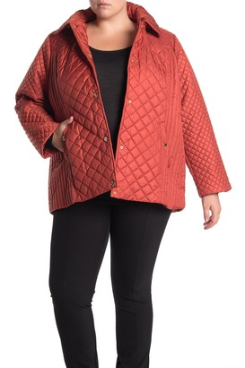 Anne Klein Quilted Detachable Hood Coat (Plus Size)