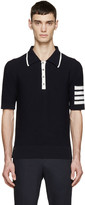 Thom Browne Navy Knit Striped Armband Polo