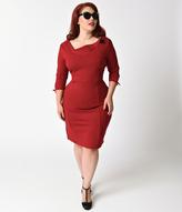 Unique Vintage Plus Size 1940s Style Burgundy Carmen Half Sleeve Wiggle Dress