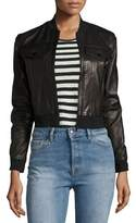 J Brand Harlow Zip-Front Leather Jacket, Black