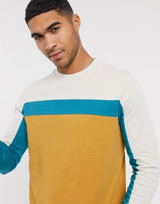 ASOS DESIGN long sleeve t-shirt with colour block panels