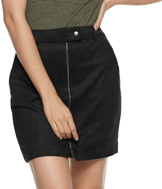 Apt. 9 Women's Faux-Suede Zip Skirt