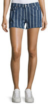 7 For All Mankind Striped Denim Cutoff Shorts, Indigo