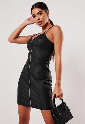 Missguided Black Coated Zip Through Denim Slip Dress