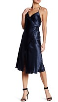 ABS by Allen Schwartz Crinkle Satin Wrap Dress