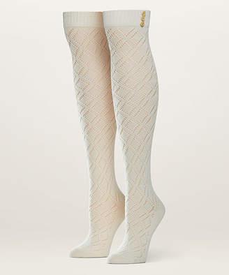 Pact Women's Socks Cream - Cream Pointelle Organic Cotton Over-the-Knee Socks - Women