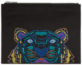 Kenzo Black Holiday Canvas A4 Tiger Pouch