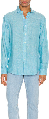 Polo Ralph Lauren Linen Chambray Long Sleeve Button Up Shirt in 4366F Turquoise | FWRD