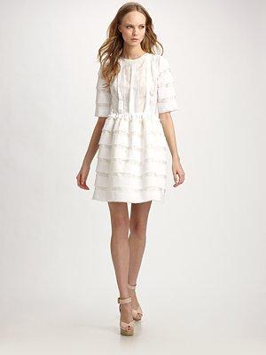 Peter Som Cotton Voile Three-Quarter Sleeve Dress