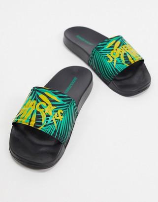 Jack and Jones tropical print sliders