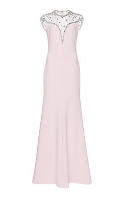 Jenny Packham Illusion Neckline Embellished Satin Dress