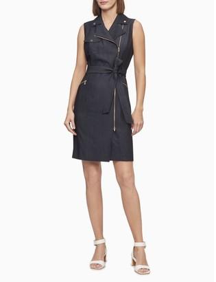 Calvin Klein Moto Zip Sheath Dress