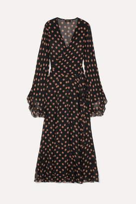 De La Vali Oswalda Ruffled Polka-dot Chiffon Wrap Maxi Dress - Black