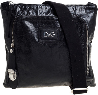 Dolce & Gabbana Black Leather Alan Messenger Bag