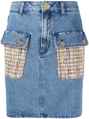 Sandro Fiorina tweed-pocket denim skirt