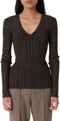 Maje Metallic Rib V-Neck Sweater