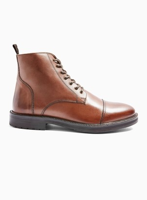 Topman Brown Real Leather Orbis Boots
