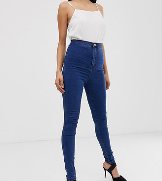 Asos Tall DESIGN Tall Rivington high waisted denim jeggings in flat mid wash blue