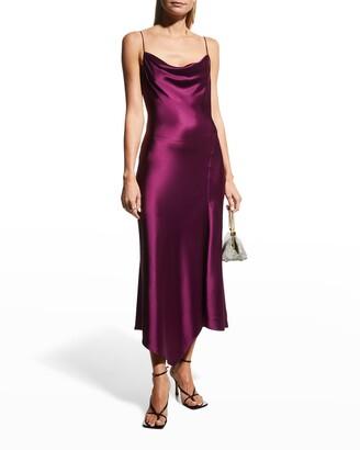 Alice + Olivia Harmony Draped Asymmetric Midi Dress w/ Slit