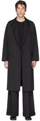 Sulvam Black Wool Double-Breasted Overcoat