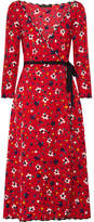 Marc Jacobs Floral-print Silk-jacquard Wrap Dress - Red