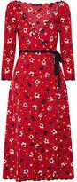 Marc Jacobs Floral-print Silk-jacquard Wrap Dress - Red