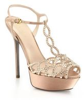 Sergio Rossi Vague Swarovski Crystal T-Strap Sandals