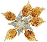 Tiffany & Co. Schlumberger 18K Yellow Gold Platinum Diamond Floral Brooch