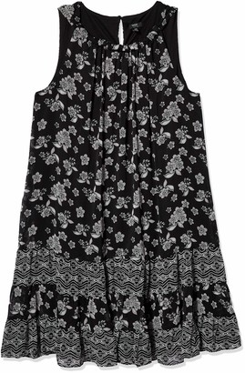 MSK Women's Size Woven Halter Neck Black White Dress with Tiered Hem-Plus 22W
