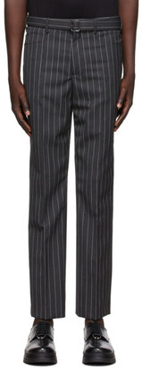 Neil Barrett Grey Wool Striped Trousers