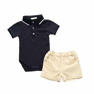 Chennie Infant Baby Boy Lapel Collar Polo Shirt Romper + Shorts Gentleman Clothes Set
