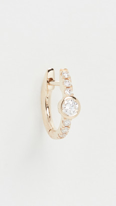 The Last Line 14k Medium Diamond Bezel Solitaire Huggie