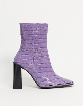 ASOS DESIGN Erico premium leather patent heeled boots in purple croc