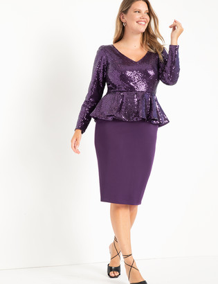 ELOQUII Sequin Peplum Dress