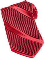 Stefano Ricci Pleated Crystal Silk Tie, Red
