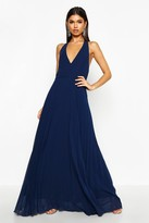 boohoo Sidra Chiffon Pleated Plunge Maxi Dress navy
