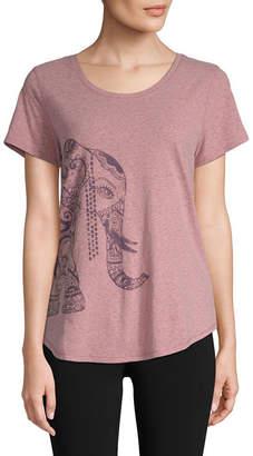 ST. JOHN'S BAY SJB ACTIVE Active Womens Crew Neck Keyhole Back Short Sleeve Graphic T-Shirt