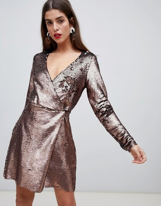 Vero Moda sequin midi wrap dress in gold