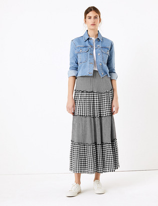 Marks and Spencer Gingham Tiered Maxi Fit & Flare Skirt