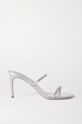 Rene Caovilla Bessie Crystal-embellished Satin Mules - Silver