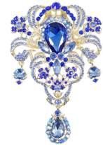 Ever Faith Gold-Tone Austrian Crystal 5 Inch Flower Bouquet Tear Drop Pendant Brooch Black A02666-114