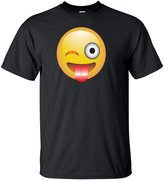 YM Wear Adult Emoji Smiley Face Wink Face Tounge Out T Shirt